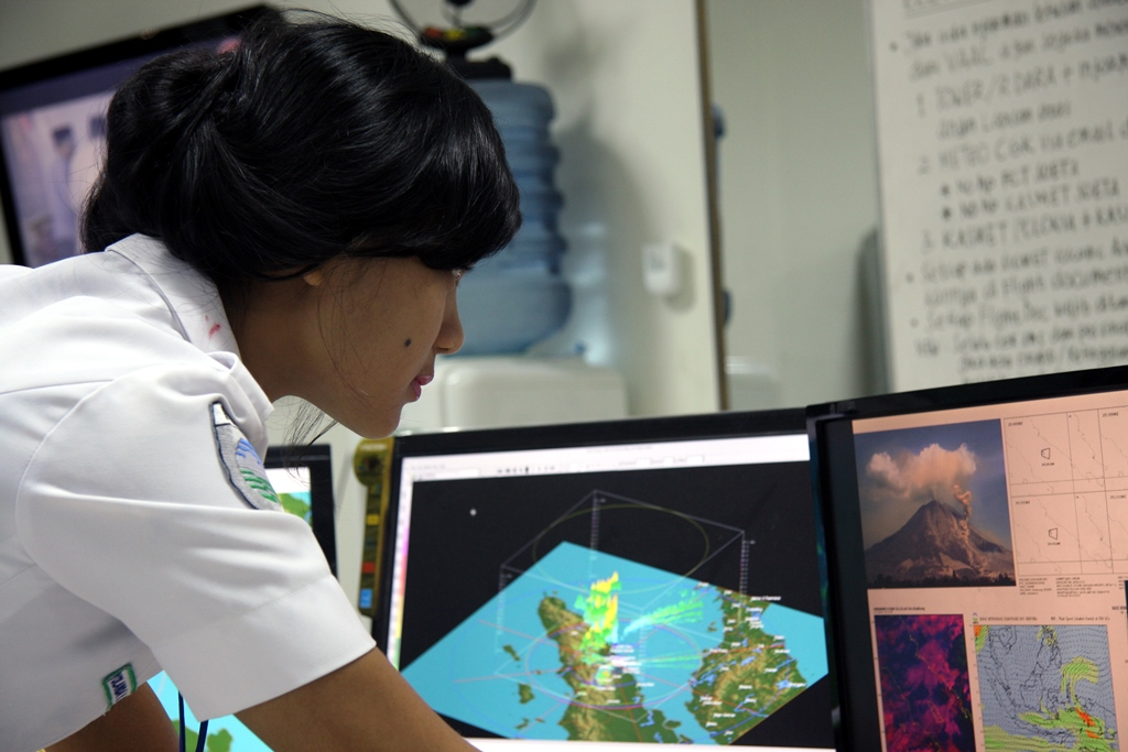 A meteorological officer from Indonesia's meteorological and geophysical agency, BMKG, analyzing weather prediction information.