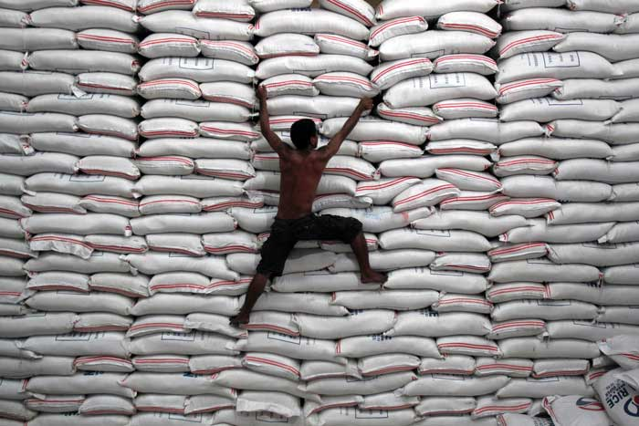 man and rice bags
