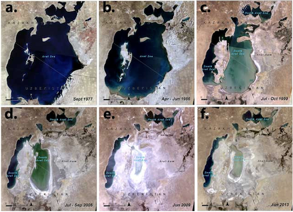 Figure 2:Landsat satellite imagery mosaics showing visible changes of the Aral Sea. Source: USGS/NASA; visualisation byUNEP/GRID-Sioux Falls.