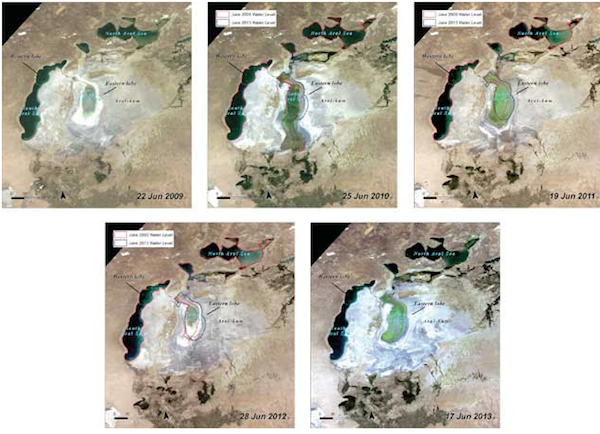 Figure 4:NASA MODIS Terra satellite imagery showing changes in the Aral Sea from 2009 to 2013. Source: NASA, visualisation byUNEP/GRID-Sioux Falls.