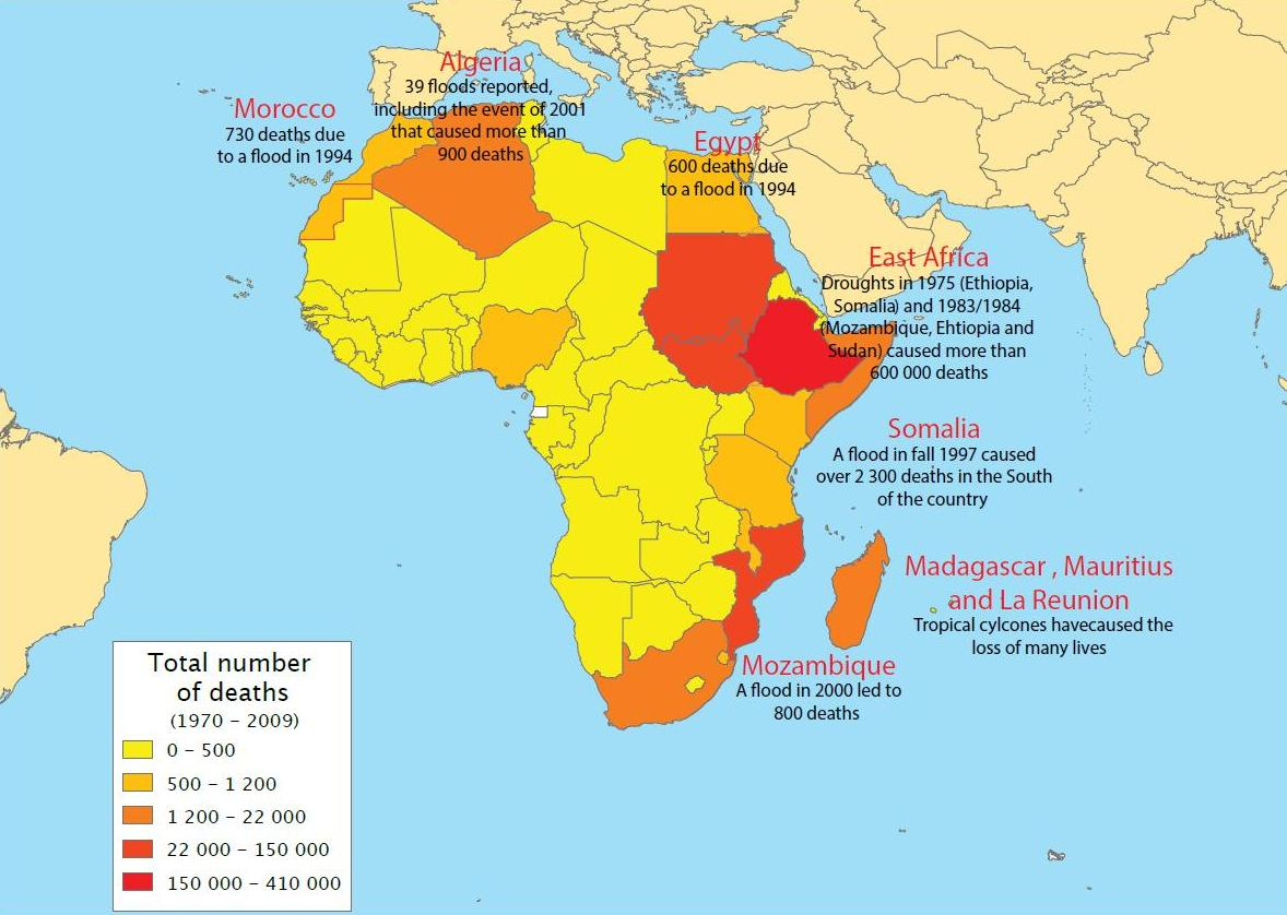 Map of disasters and their related deaths in Africa (1970-2009)