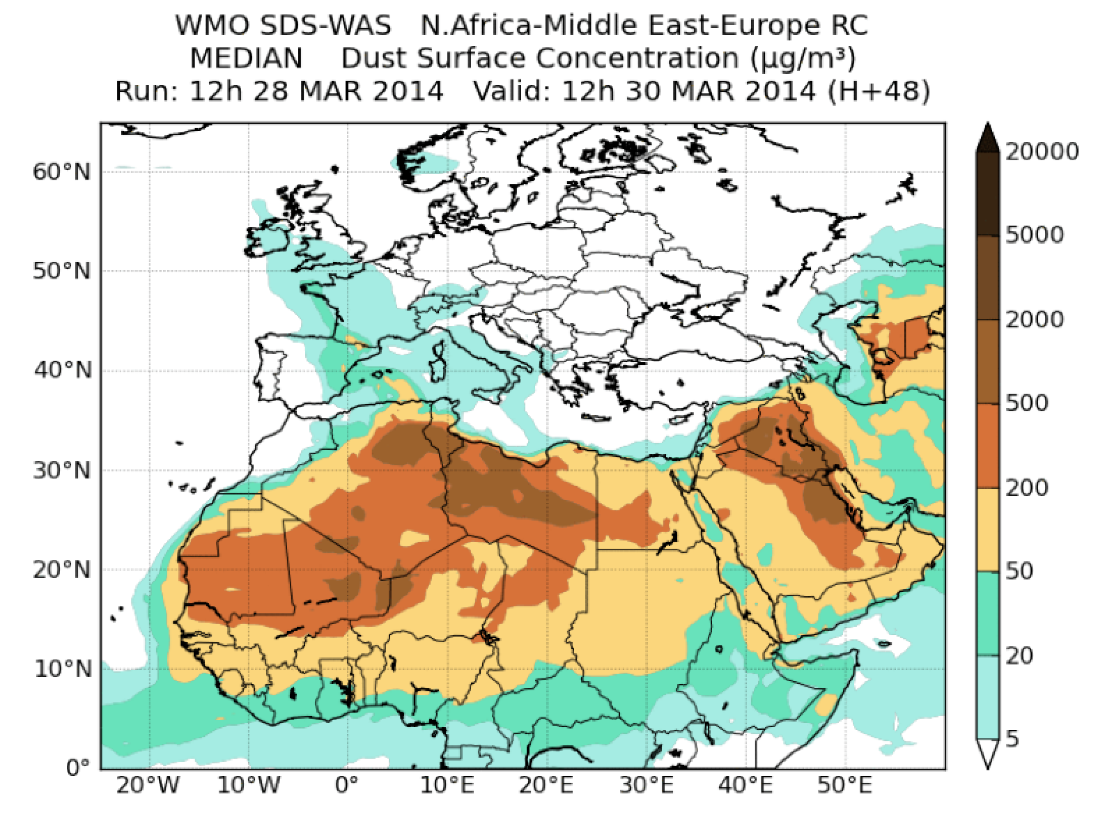 H+24 forecast of dust optical depth at 550 nm released by the Barcelona dust Forecast Centre on 29 March 2014 at 12 UTC