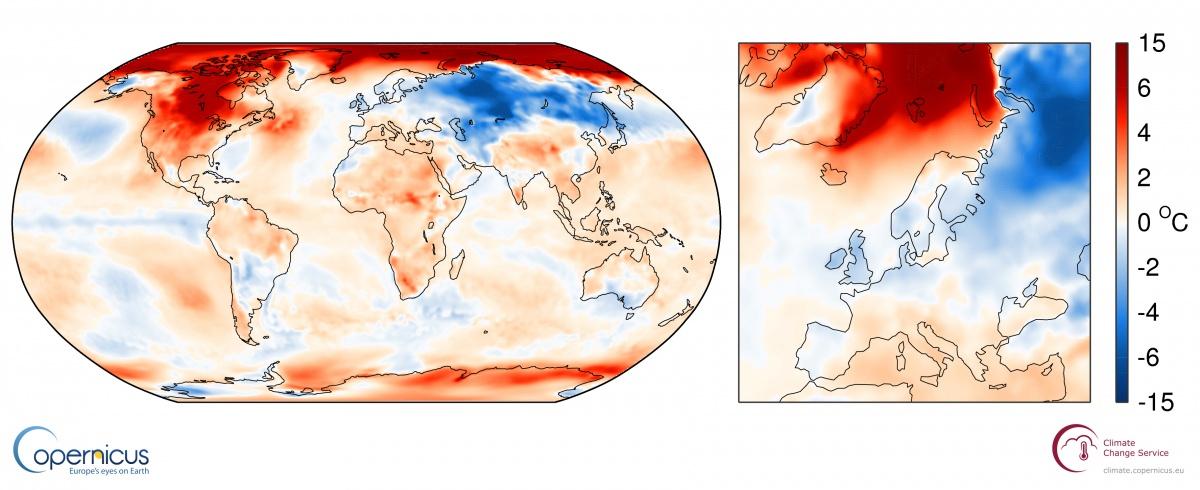 November average air surface temperatures: ECMWF Copernicus Climate Services