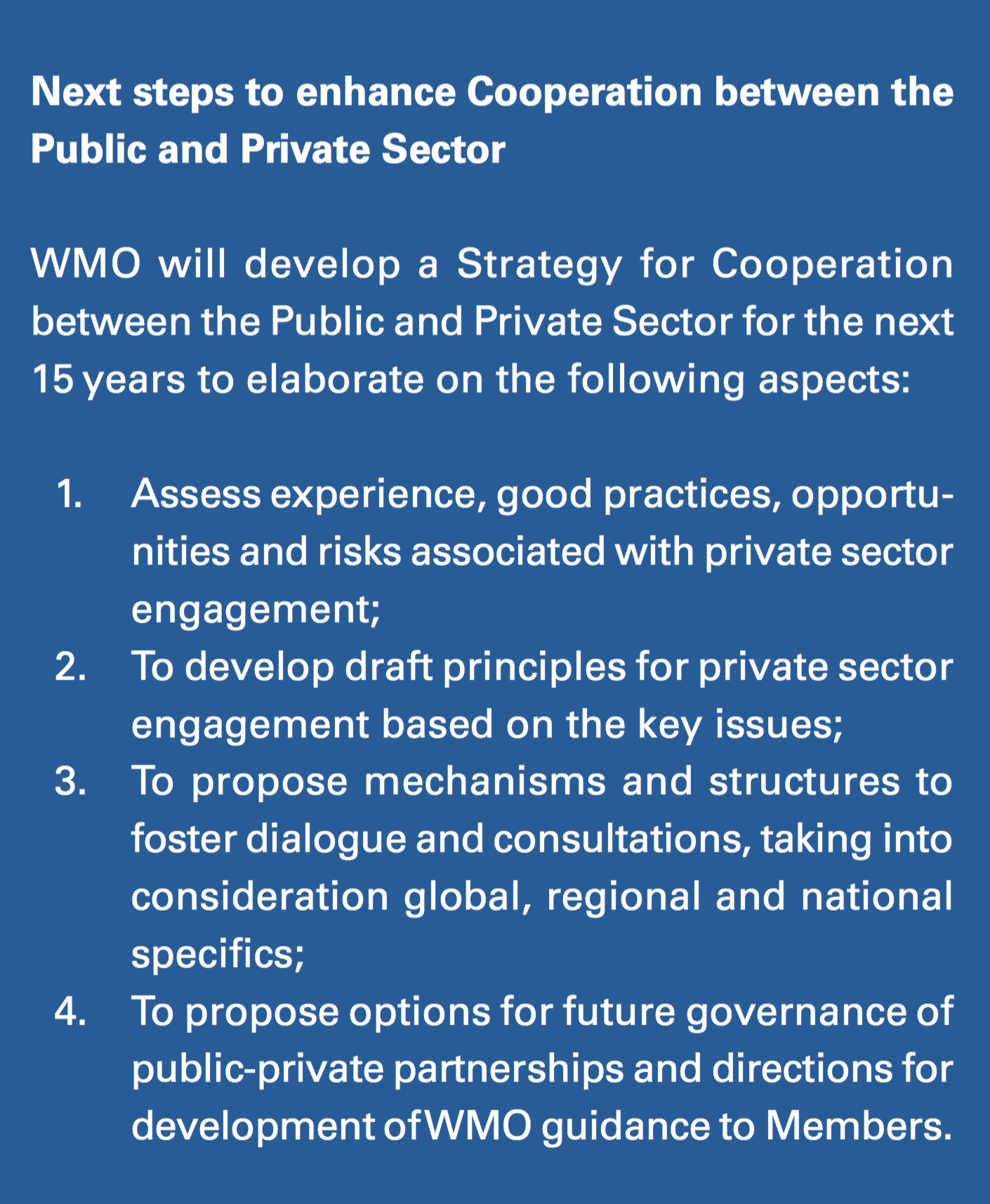 Next Steps to Enhance Public and Private Sector Cooperation