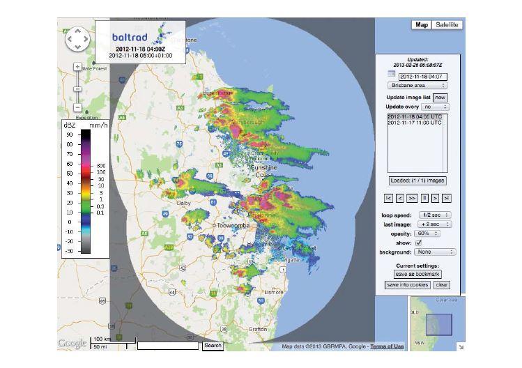 Fortes tempêtes au-dessus et à proximité de Brisbane, dans l'Etat du Queensland en Australie, détectées par trois radars météorologiques du réseau national le 18 novembre 2012. Les systèmes en cause se sont formés rapidement, ont déversé à plusieurs endroits des grêlons plus gros qu'une balle de golfe et ont déclenché des crues éclair. (Données traitées avec le système BALTRAD par l'Institut suédois de météorologie et d'hydrologie et le Service météorologique australien)