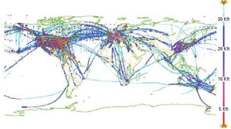 Régions du globe couvertes par les observations d'aéronefs au cours d'une période de 24 heures, en décembre 2012