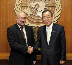 Mr Jarraud and Ban Ki-moon