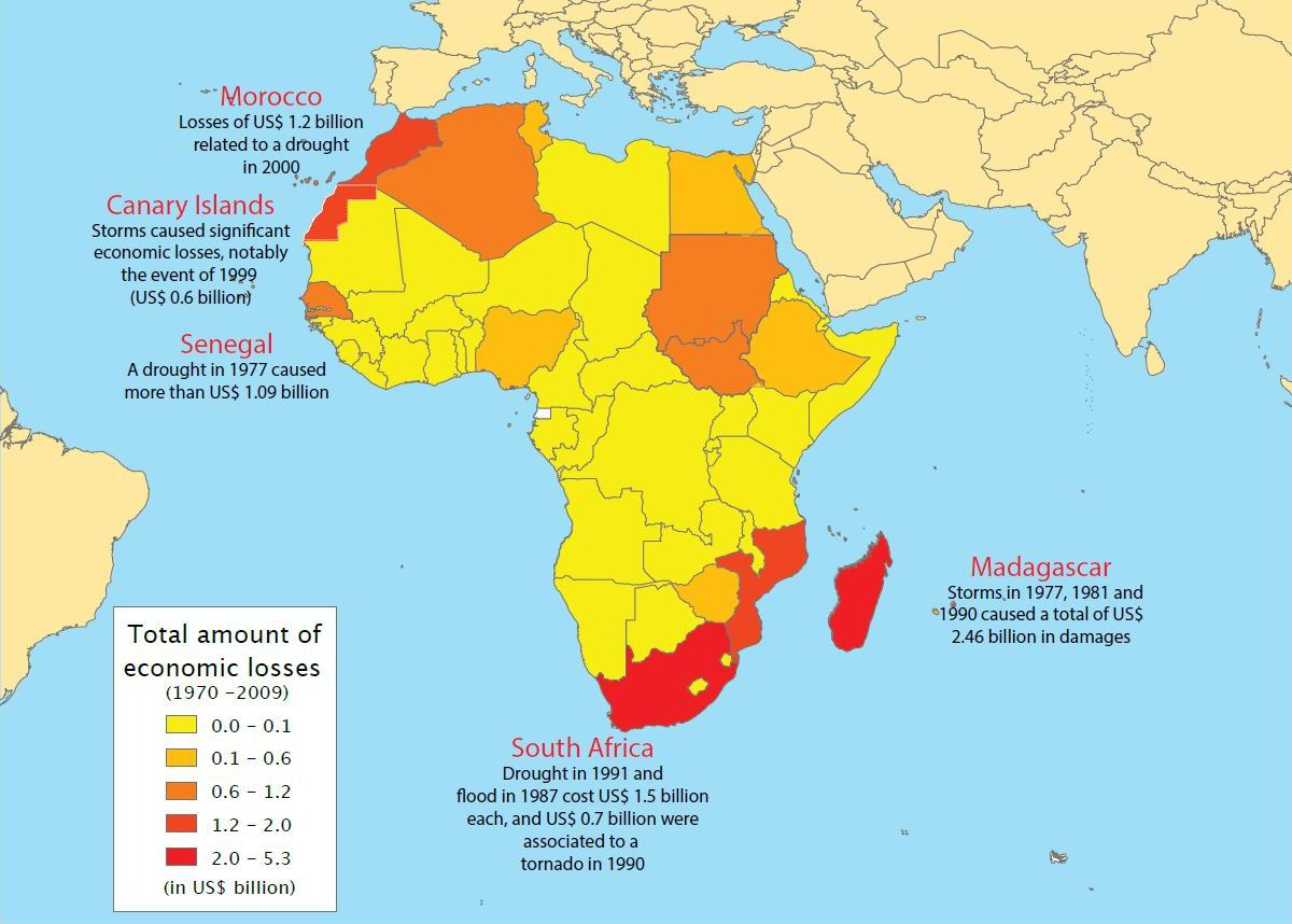 Map of disasters and their related economic losses in Africa