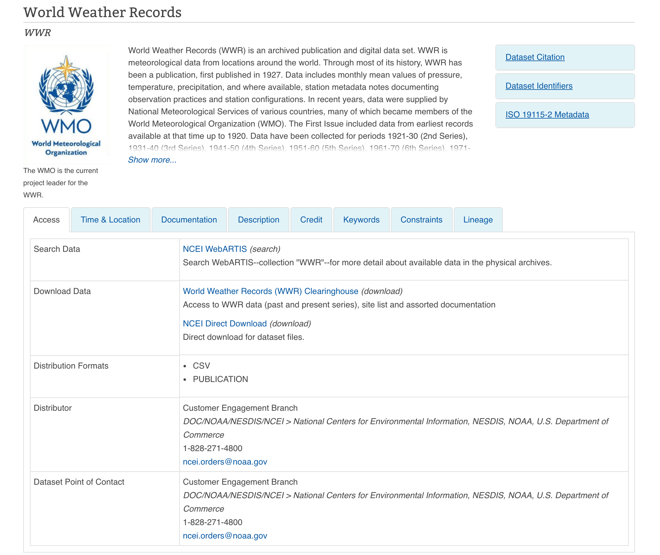 World Weather Records Archive