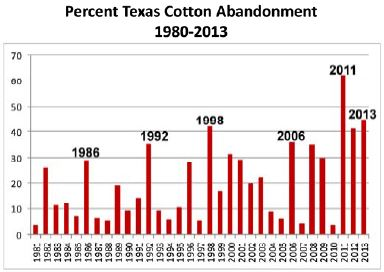 Figure 3. Texas cotton abandonment, 1981-2013;