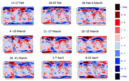 Figure 1: Weekly evolution of 2-metre temperature anomalies from February to April 2013
