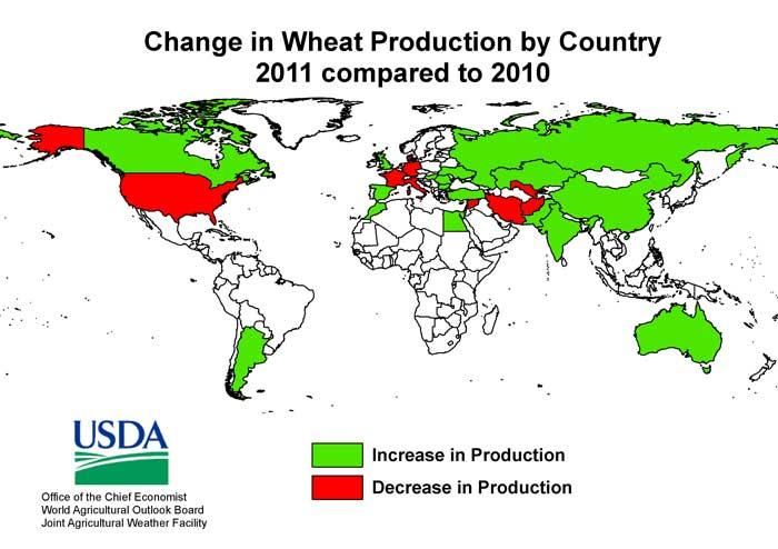 world map wheat production 2011