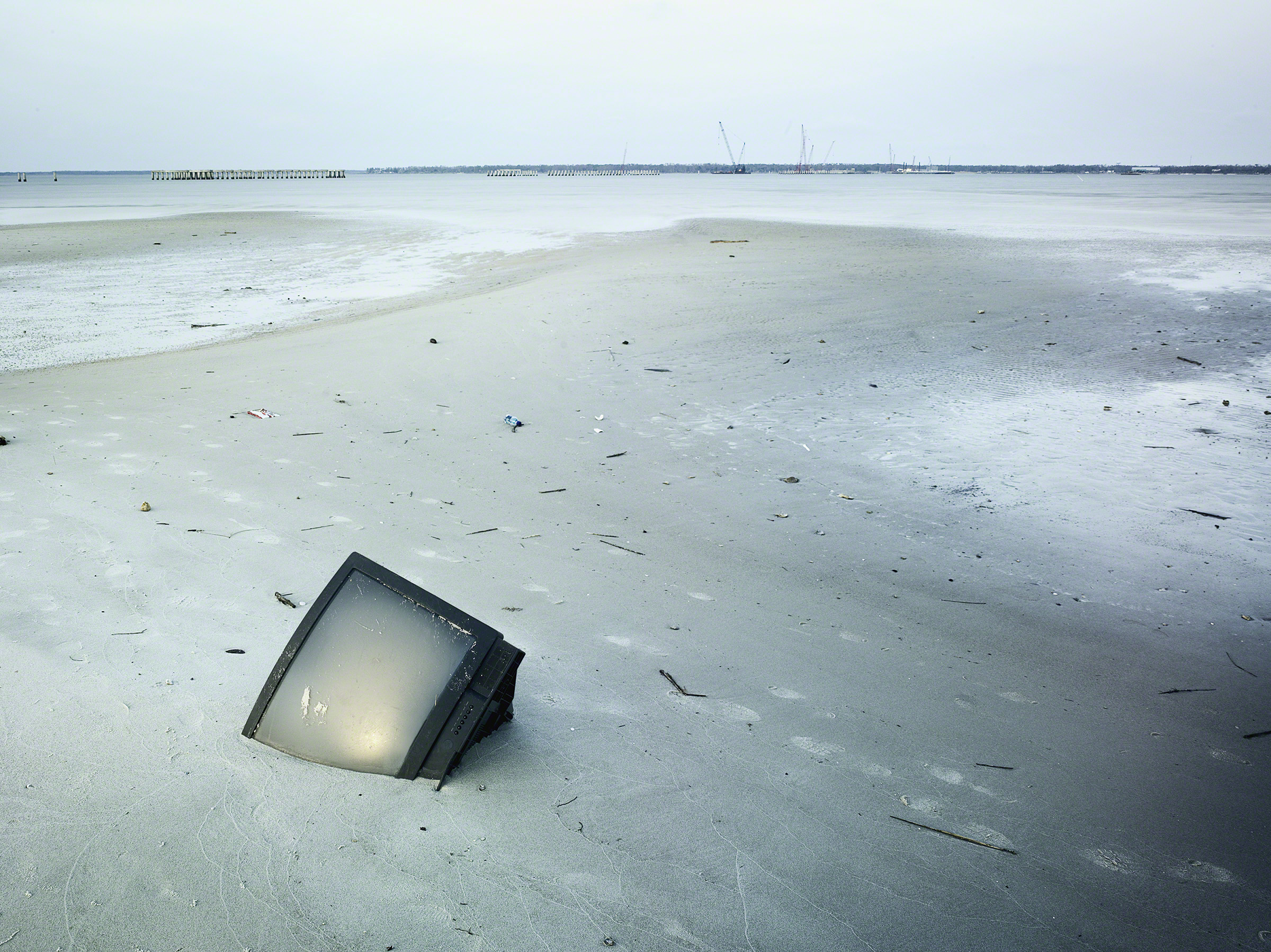 TV in the sand post Hurricane Katrina, Bay St. Louis, Mississippi, USA. Photo: Stephen Wilke