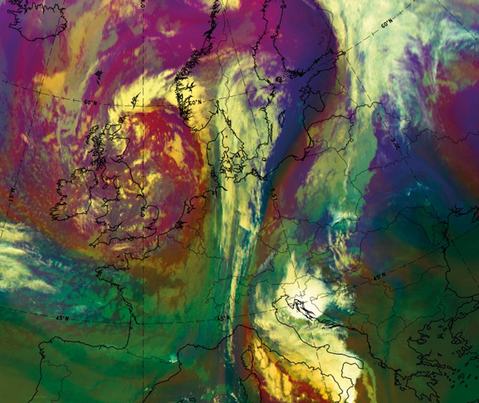 Meteosat airmass RGB, 11 September at 0600 UTC (EUMETSAT)