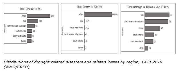 Distributions of drought-related disasters and related losses by region, 1970-2019