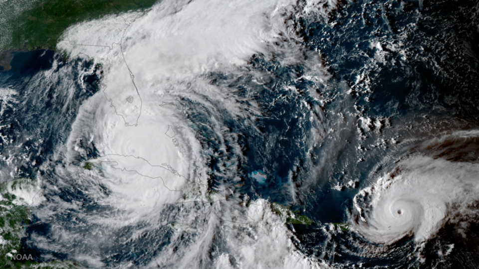 GOES-16 images of Hurricane Irma and Jose in Atlantic on 9 September 2017 (NOAA Satellites)