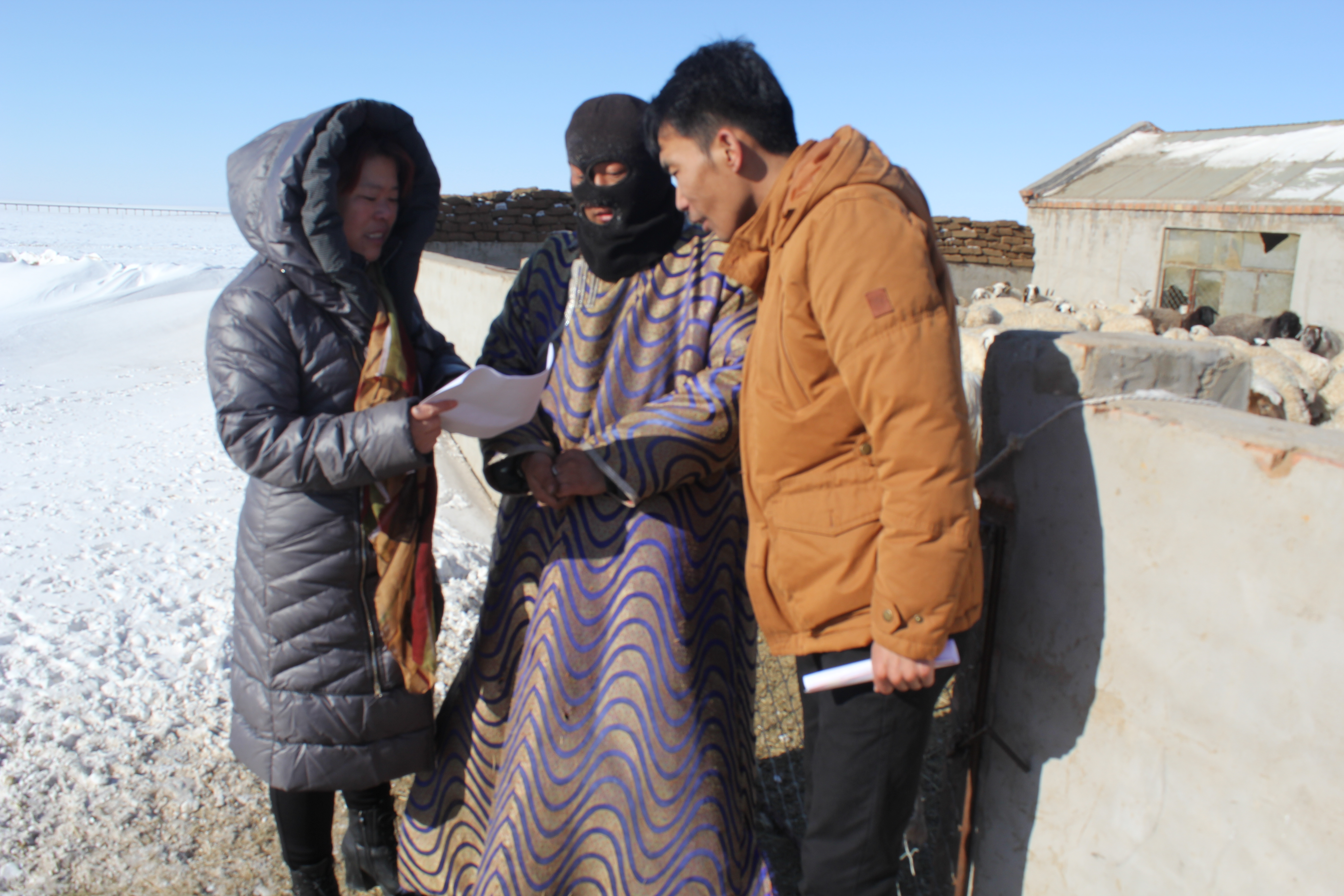 Ms. ZHANG Jichen, a meteorologist of Sunitezuoqi Meteorological Bureau in Inner Mongolia, China, was explaining to herdsmen how to prevent and reduce meteorological disasters in pastoral areas