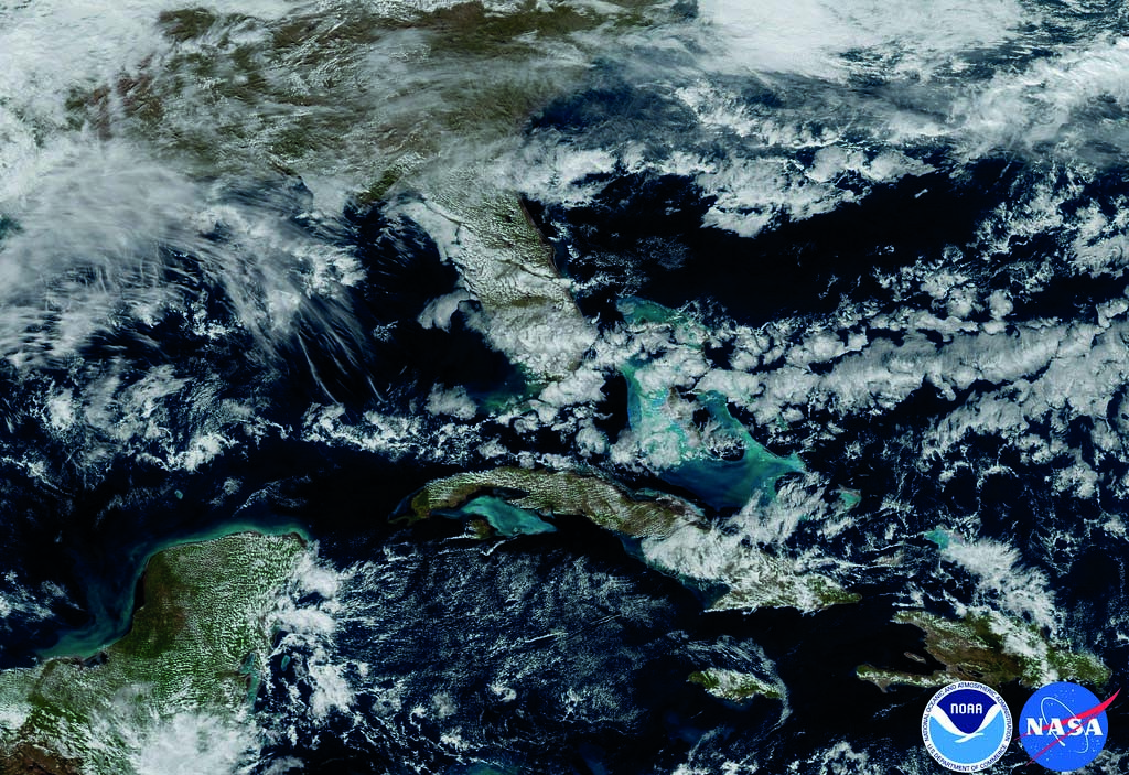 This very recent daytime image of the Caribbean region demonstrates the rich variety of cloud features and organizational patterns over ocean and land.
