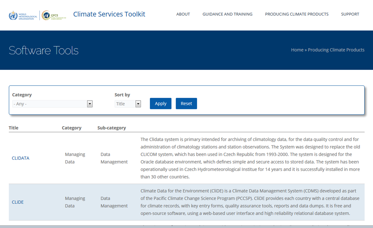 Climate Services Toolkit interface