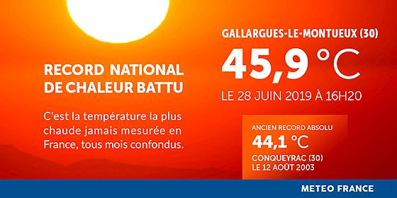 French temperature record set 28 June