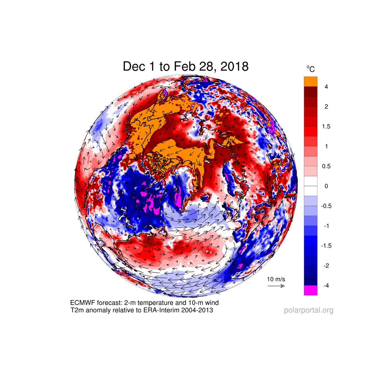 Temperature anomalies Dec 1-Feb 2018
