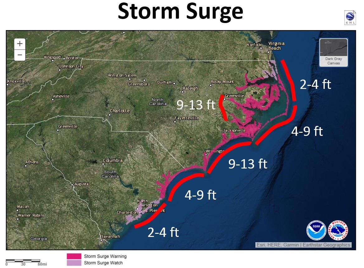 Hurricane Florence storm surge forecast