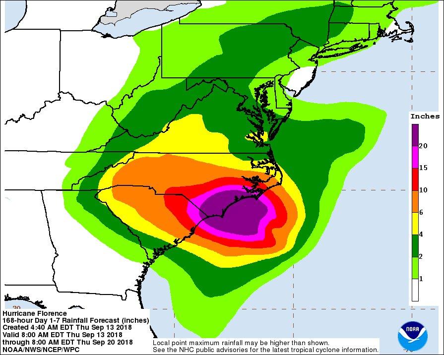 Hurricane Florence rainfall forecast