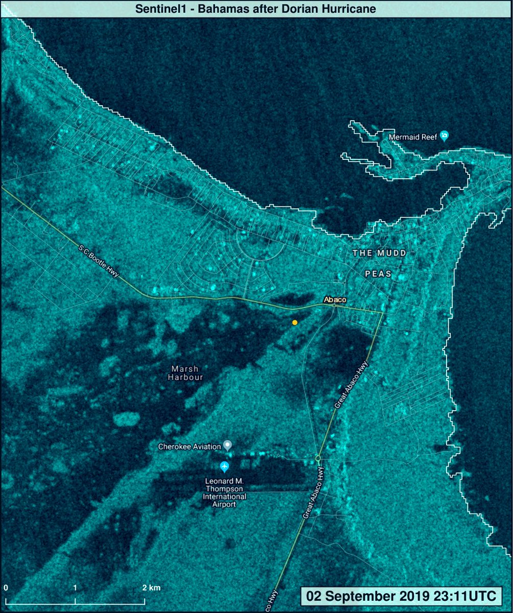 Satellite image of flooding in Abaco, EU Sentinel 1