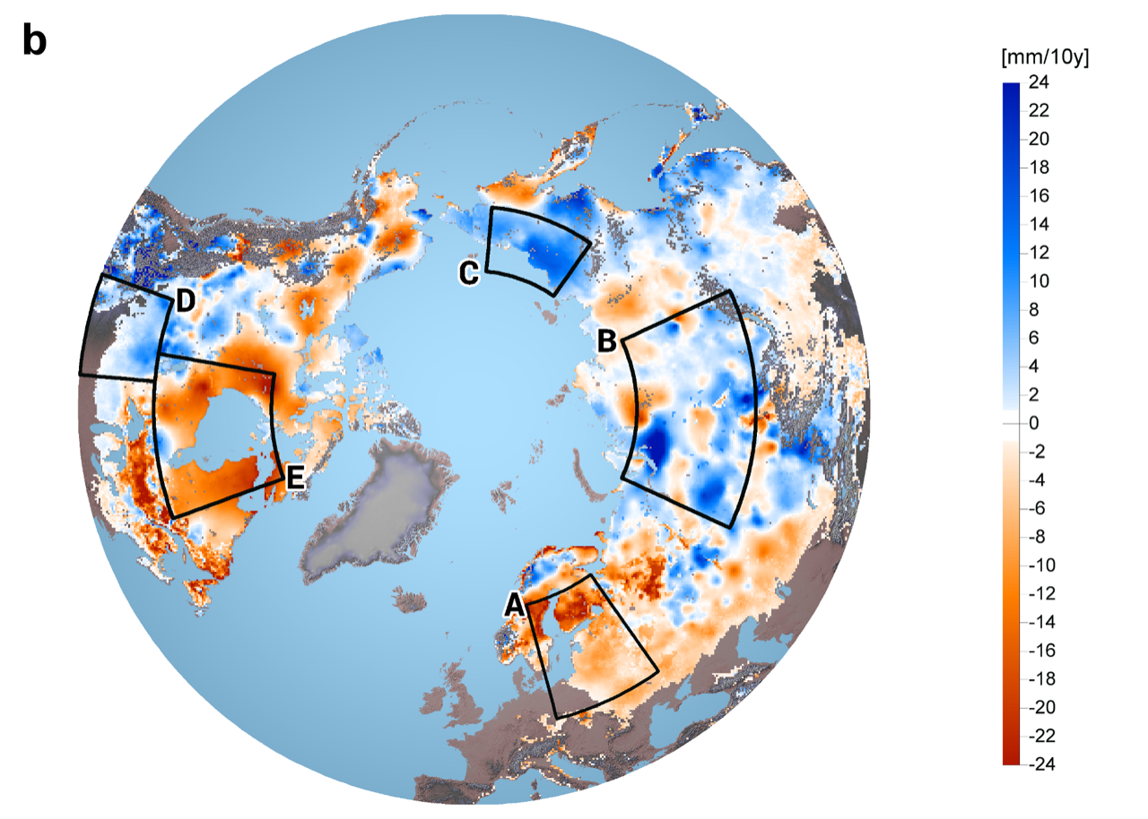 Snow cover in northern hemisphere