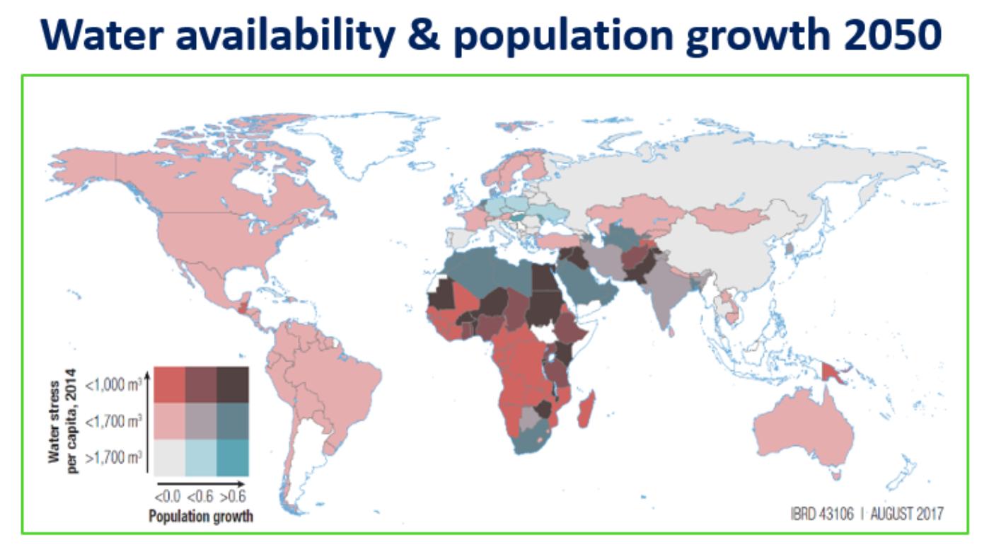 Figure 2. Per Capita Water Availability and Future Population Growth, 2050 (Damania et al. 2017)