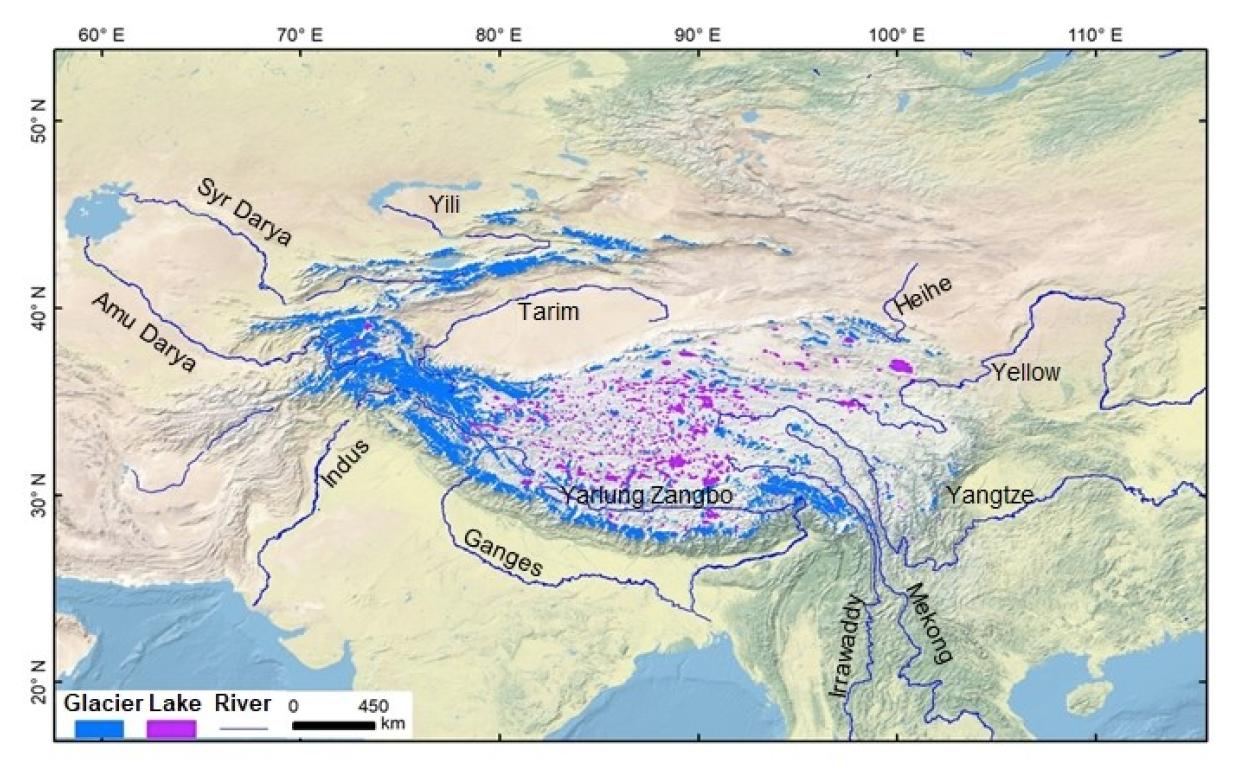 Figure 3. Third Pole on the Tibetan Plateau region: glaciers and cryosphere fed rivers (Yao et al. 2020)