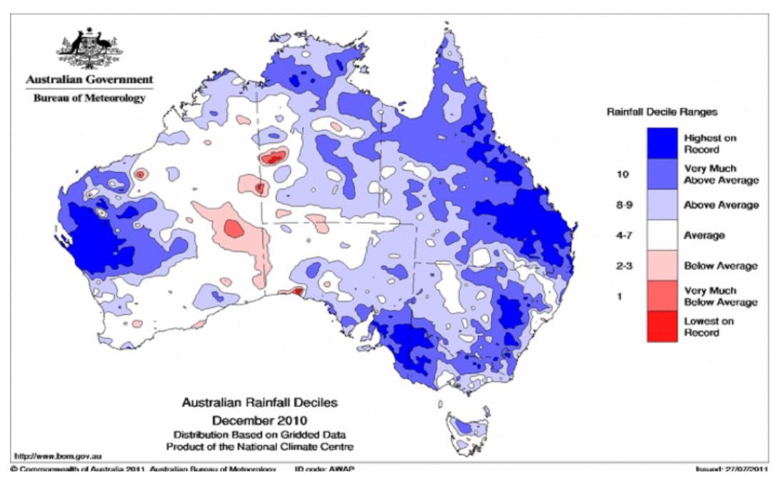 Figure 3. Australian rainfall deciles for December 2010