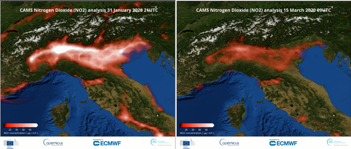 Figure 4: Surface concentrations of NO2 over northern Italy, comparison between 31 January and 15 March 2020