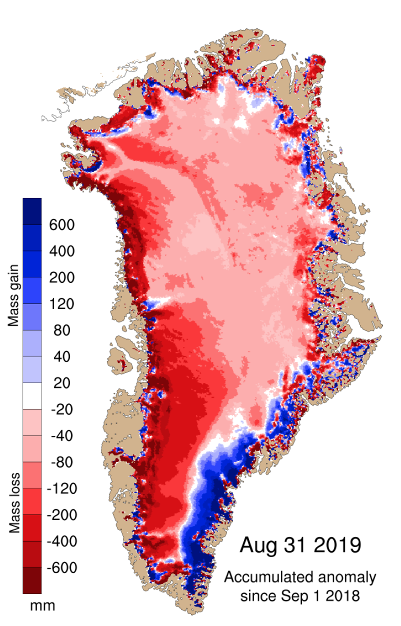 Figure 6. Map showing SMB anomaly (in mm) across Greenland