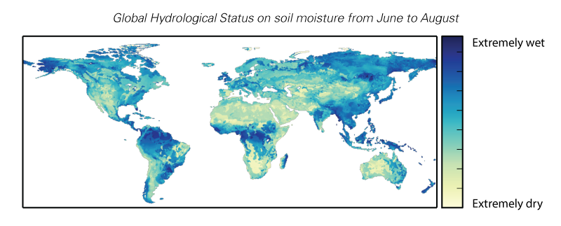 Global Hydrological Status on soil moisture from June to August