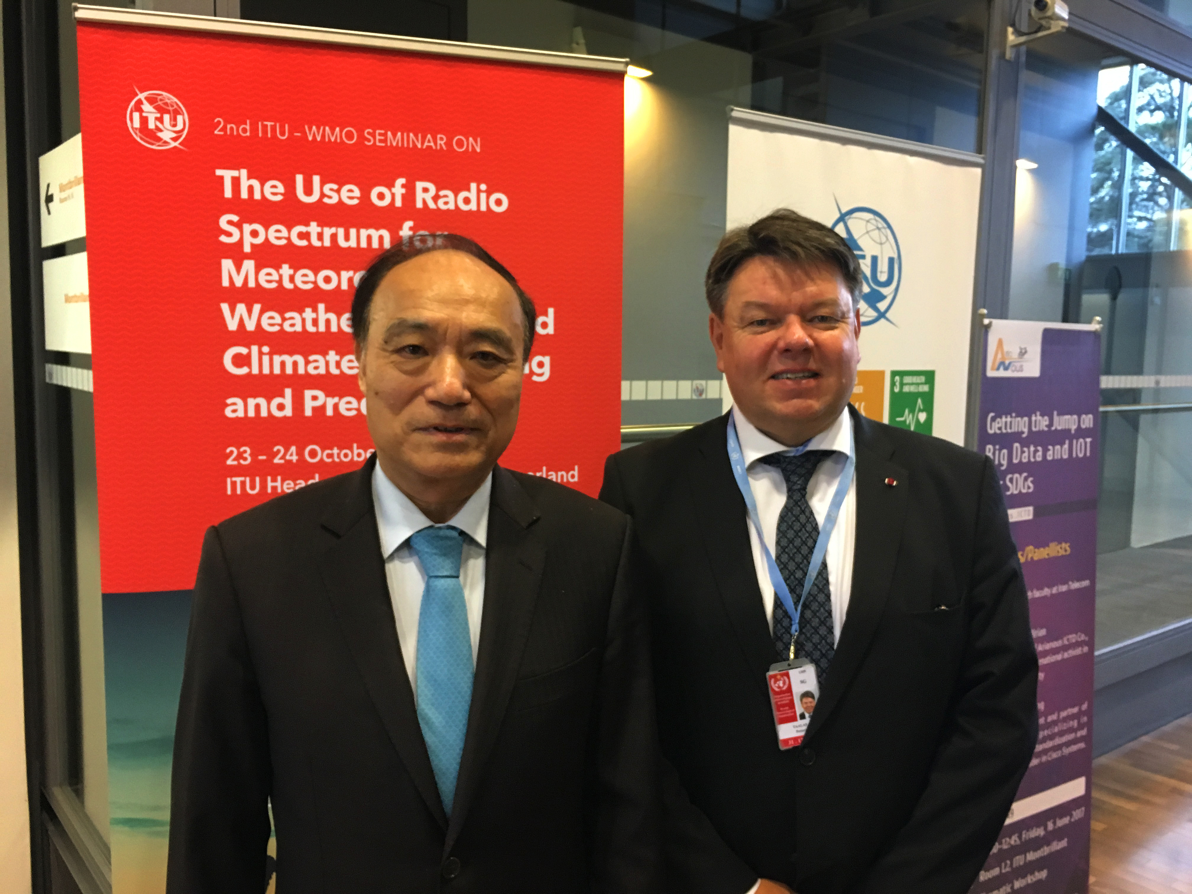 Heads of ITU and WMO at joint seminar on radio spectrum for meteorology, 23-24 Oct 2017