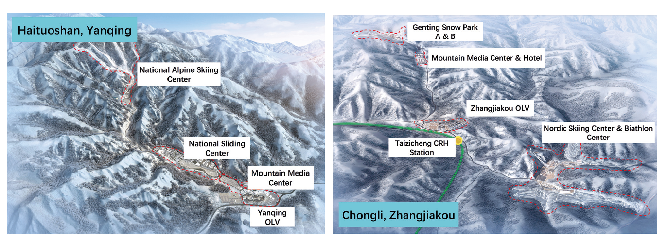 Figure 2. Locations of primary skiing and sliding centres and venues at (a) Haituoshan mountain area and (b) Chongli (OLV is the Olympic Village and CRH is the China Railway High-speed train service)