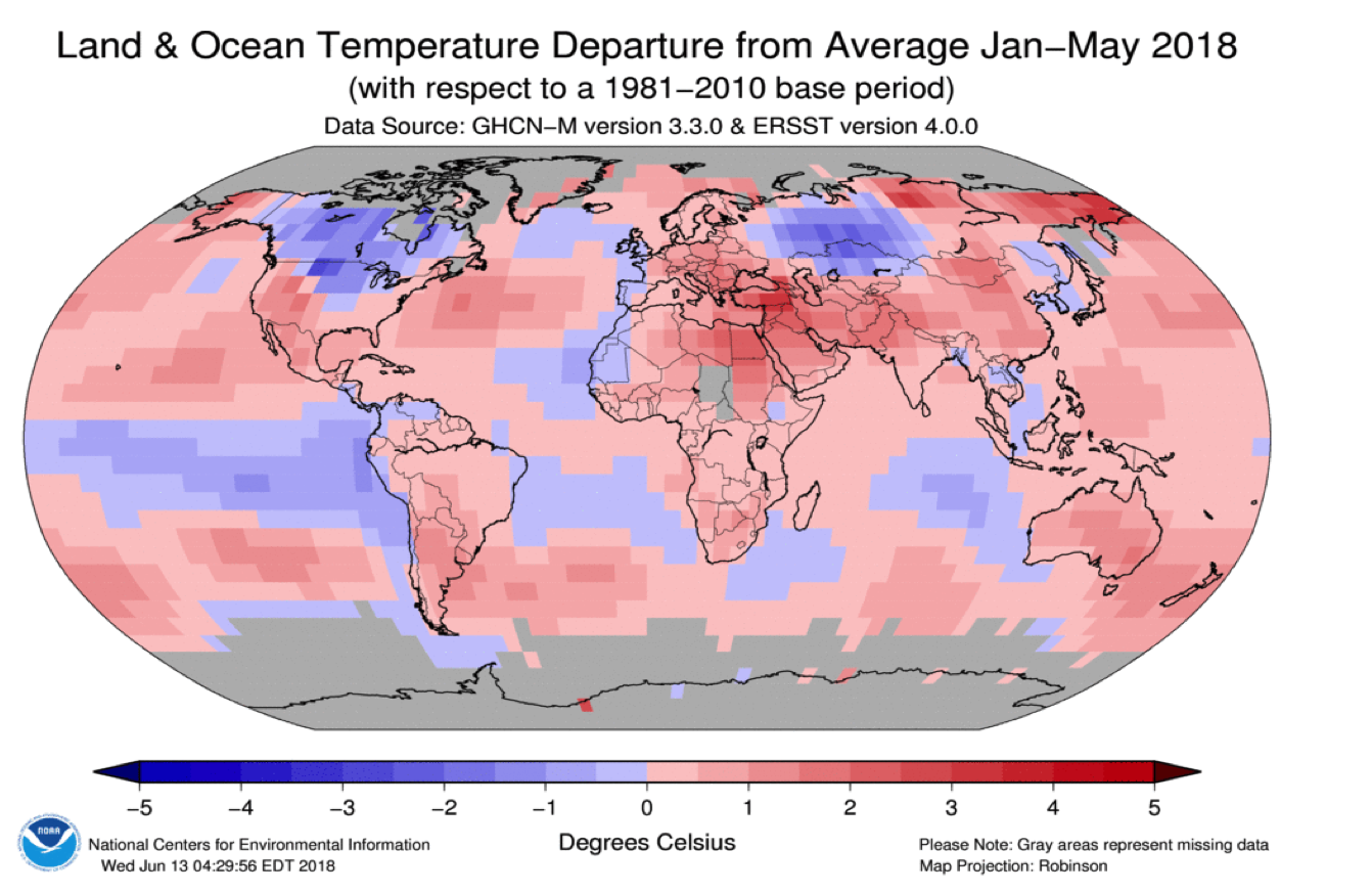 Land and Ocean temperature departure from average Jan-May 2018 - NOAA