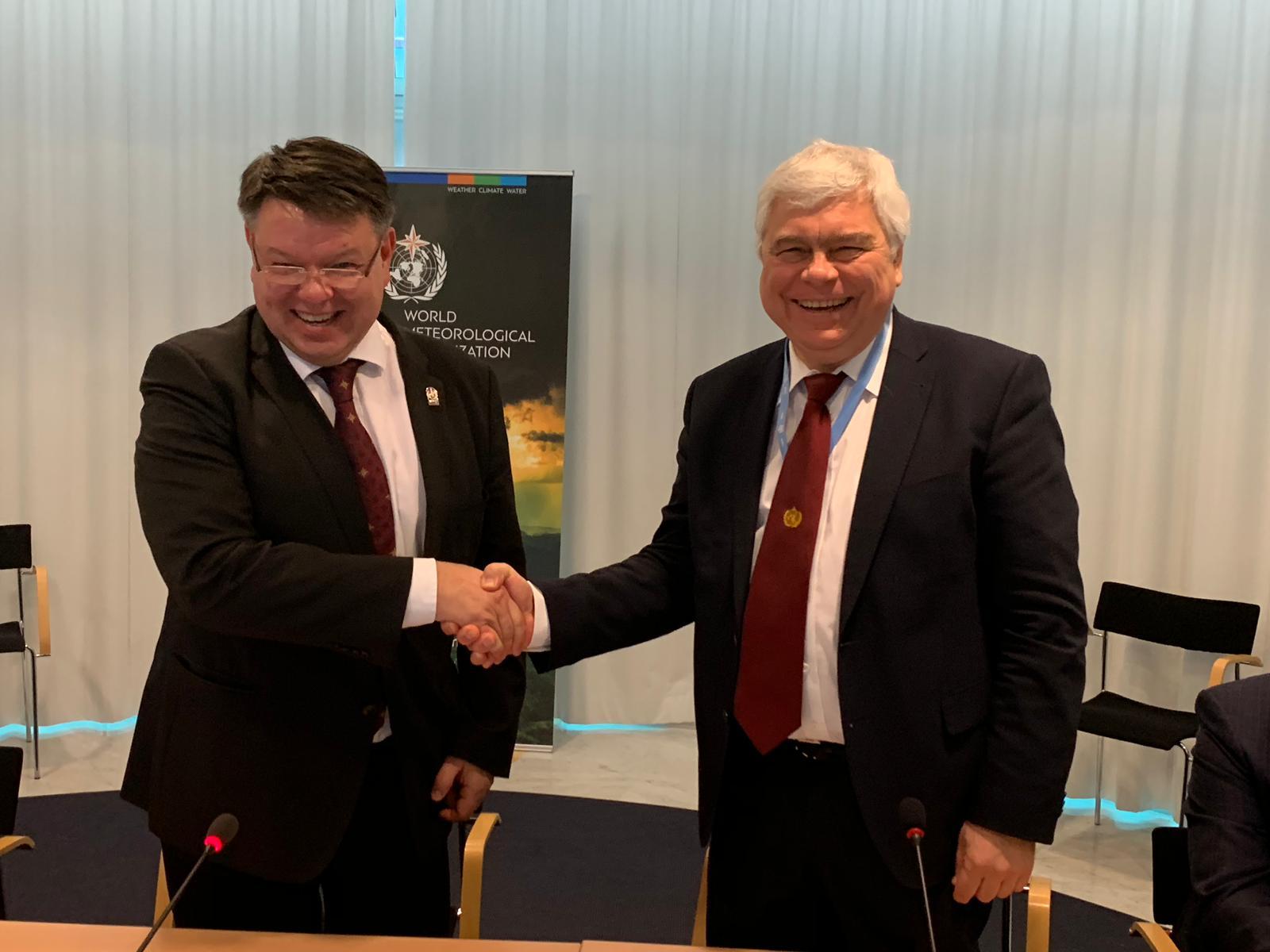 WMO SG Petteri Taalas and UNESCO-IOC Vladimir Ryabinin