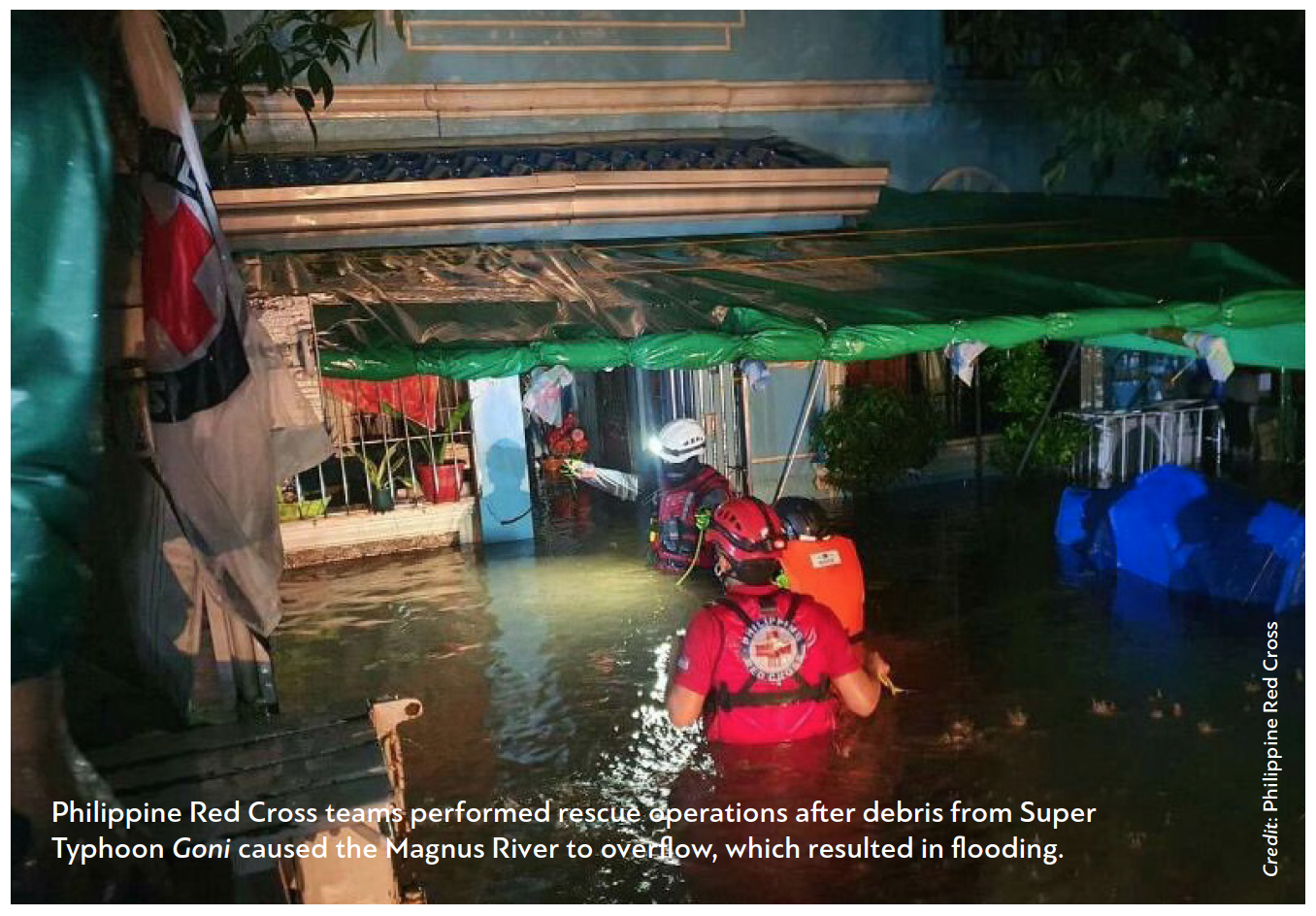 Philippine Red Cross teams performed rescue operations after debris from Super Typhoon Goni caused the Magnus River to overflow