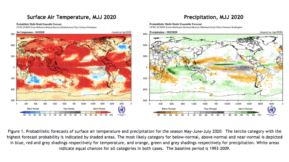 Probabilistic forecasts of surface air temperature 2020