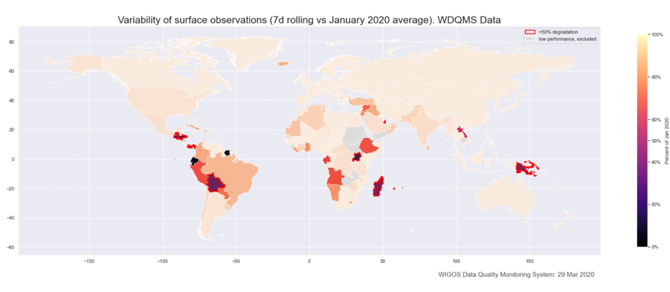 Variability of surface observations - January 2020