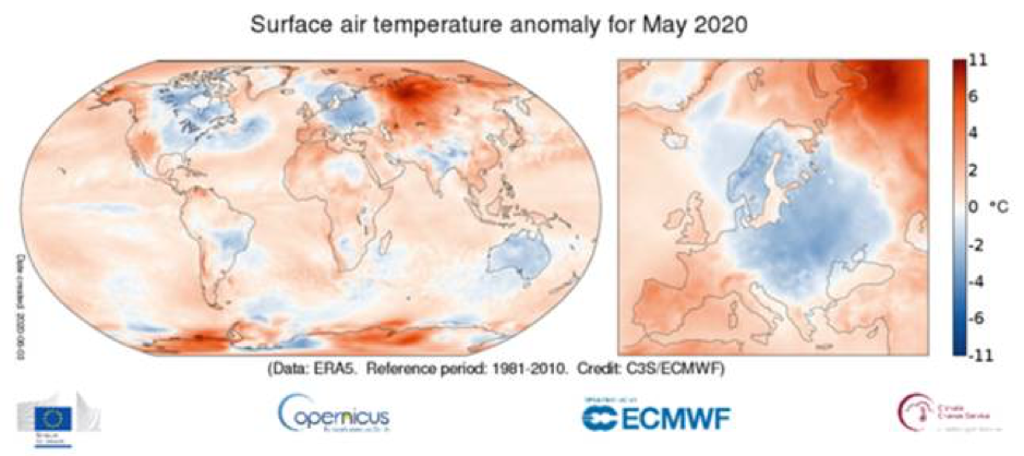 surface air temperature anomaly may 2020