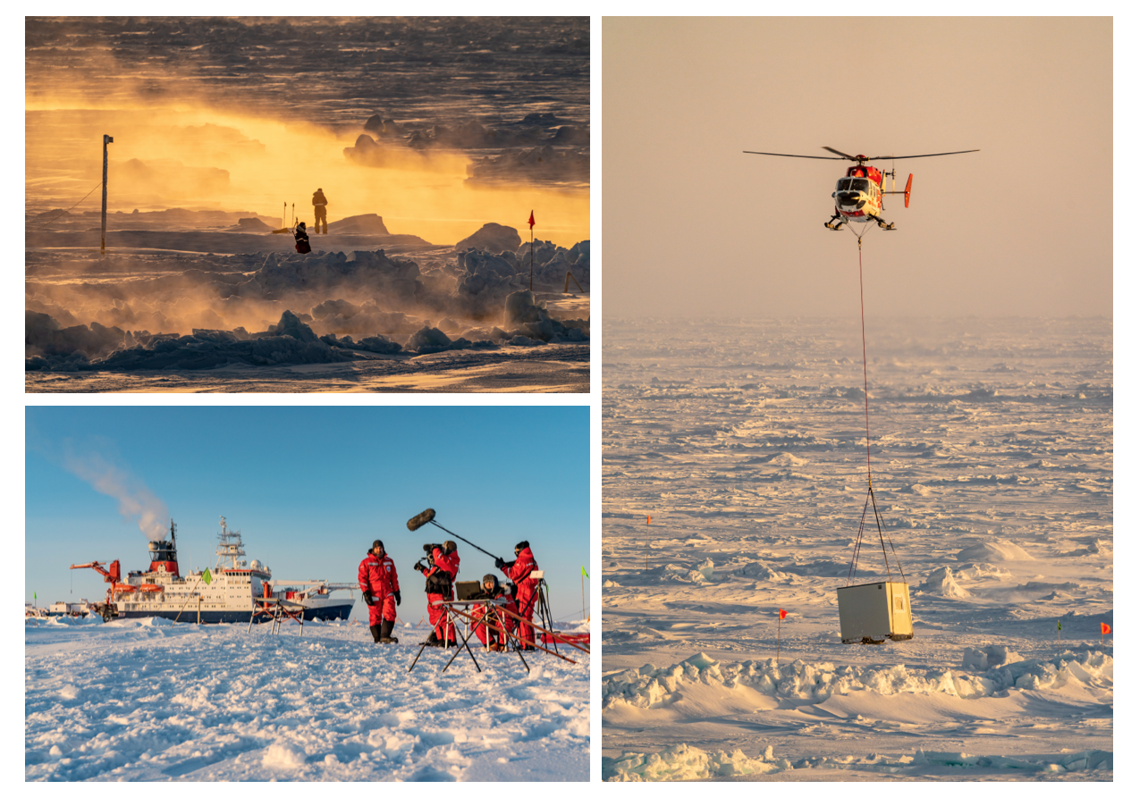 Scientists in sea fog on the floe