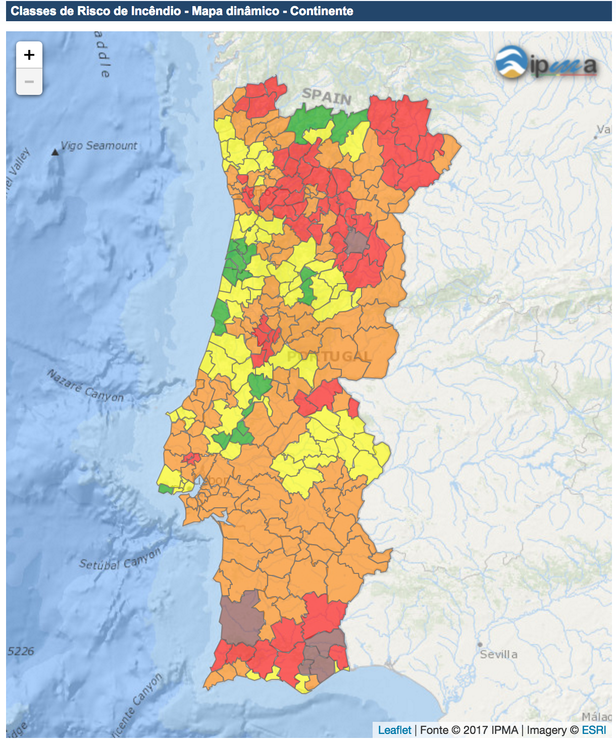 Fire risk in Portugal, 20 June 2017