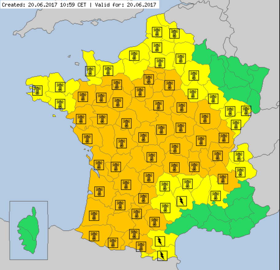Heat alerts for France, 20 June
