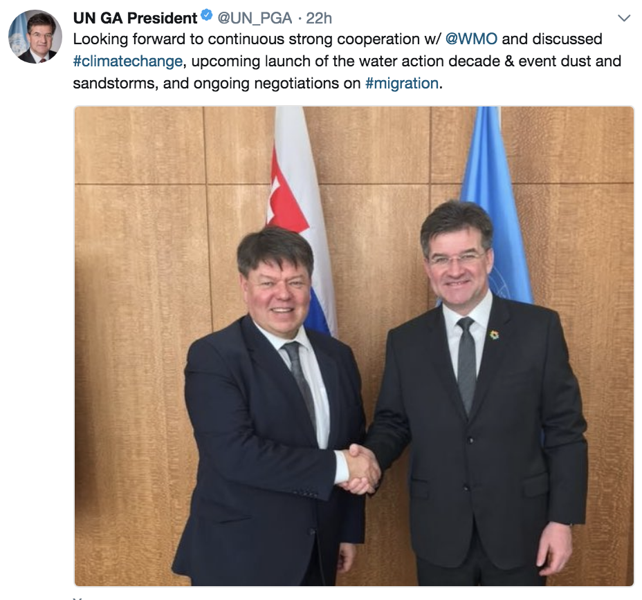 WMO SG meets President of General Assembly 6.3.2018