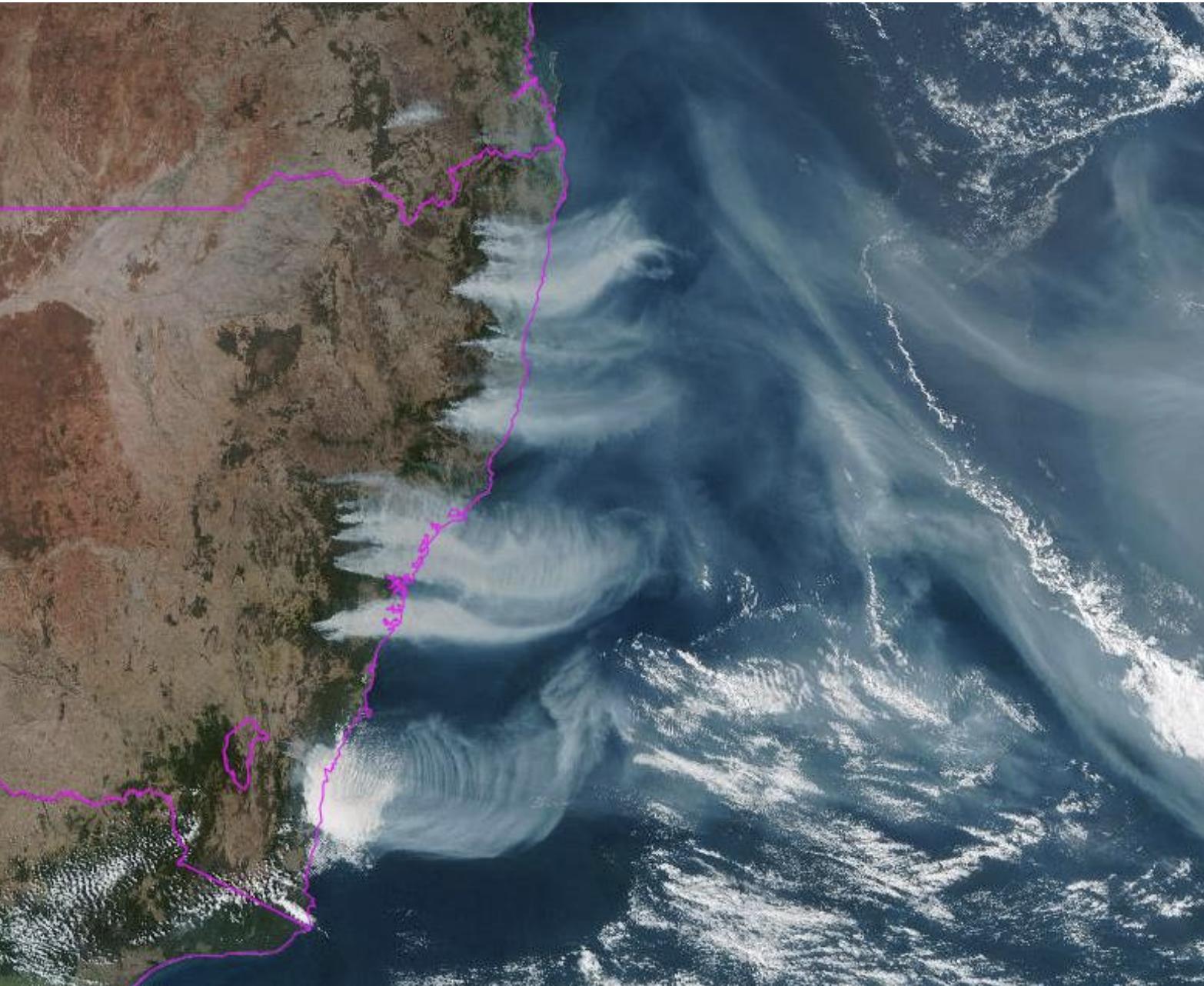 fumaça de incêndios florestais na Austrália