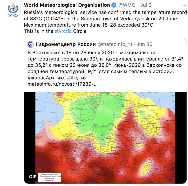 Verkhoyansk heat record 20.6.2020