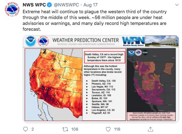 US heat, August 2020